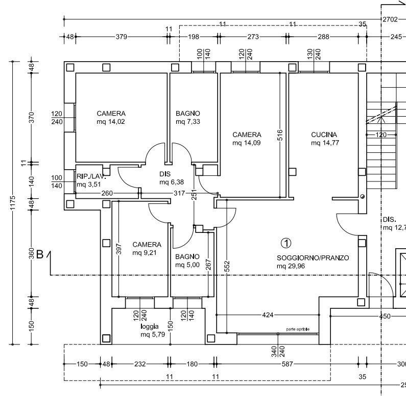 Planimetria pt1 quotata gotter immobiliare for Planimetria di una casa